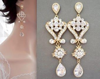 Gold chandelier earrings, Gold crystal chandelier earrings, Brides earrings, 14k gold Sterling over posts, Gold wedding earrings,