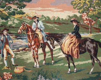 French vintage needlepoint tapestry canvas embroidery - Horse riding by the lake