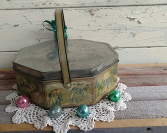 Vintage Biscuit Tin by Loose-Wiles - Mid Century Collectible Tin, Scenic Cookie Tins, Christmas Decor, Repurposed Historical Vintage Tin/Box