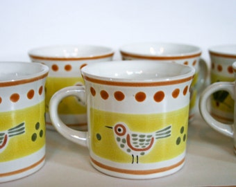 Stonecrest Coffee Mugs, Country Bird, Hand Painted, Hard to Find, Made in Korea