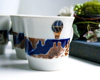 """Vintage Noritake HOT AIR BALLOON Primastone, Coffee Mug, Pattern """"Up Up & Away"""""""
