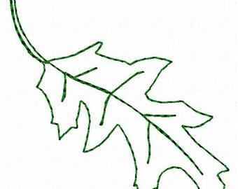 Leaf Outline Machine Embroidery Design - Instant Download