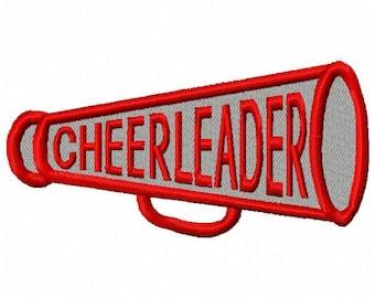 Cheerleader Megaphone Machine Embroidery Design - Instant Download