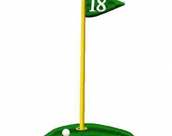Golf Flag Embroidery Design - Instant Download