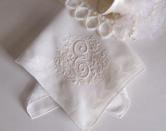 Vintage Bride's Handkerchief Monogrammed E in Cream Embroidery Wedding Hanky Something Old Bridal Shower Gift