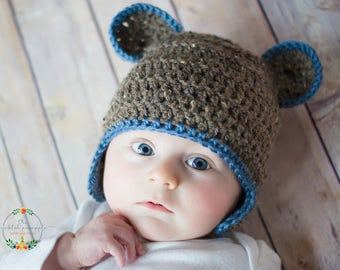 0-3 month brown bear with blue trim beanie, newborn photography prop, baby shower gift