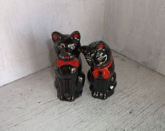 Made In Japan Black Cats Red Bows Salt & Pepper Shakers Set Vintage Mid Century
