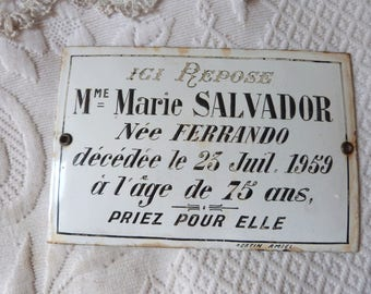 Antique French mourning grave yard marker enamel cemetery tomb memento plaque, enameled mourning plaque RARE 1950s cemetary tombstone spooky