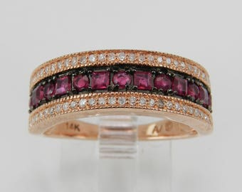 Diamond and Ruby Wedding Ring Anniversary Band 14K Rose Gold Size 7 July Birthstone