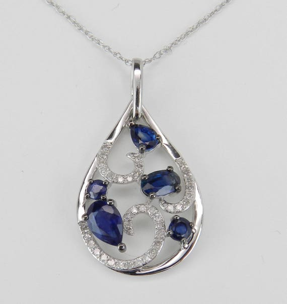"""Sapphire and Diamond Cluster Pendant Wedding Necklace 14K White Gold 18"""" Chain September Birthstone"""