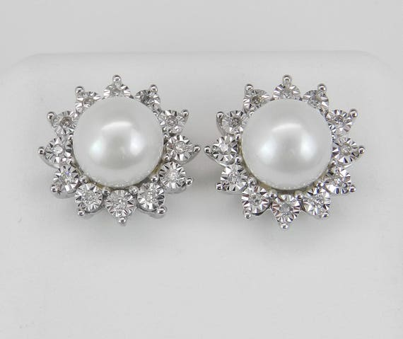Pearl and Diamond Halo Stud Earrings White Gold June Birthstone Wedding Studs