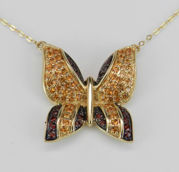 """Garnet and Citrine Butterfly Necklace 14K Yellow Gold Pendant 17"""" Chain"""
