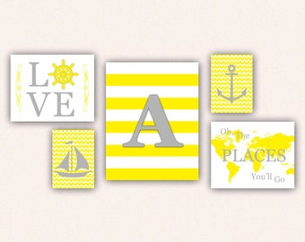 Nautical Monogram Nursery Print Set - Gray & Yellow Anchor, Sail Boat, Love, World Map, Oh the Places You'll Go on Chevrons, Stripes (5001)