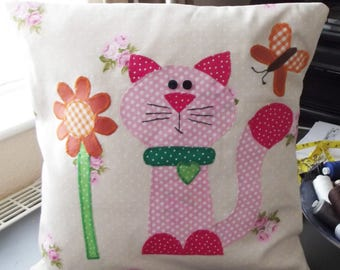 Cushion Cover Nursery, Cat, Flower and Butterfly 16x16 inches, Matching Toy Cat Available, Baby Shower Gift, Nursery Decor