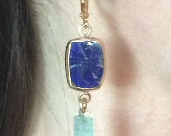 Lapis Lazuli rectangular Gold-filled Earrings
