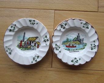 Carrigaline Pottery Cork Ireland Souvenir Dish Ashtray Set of 2