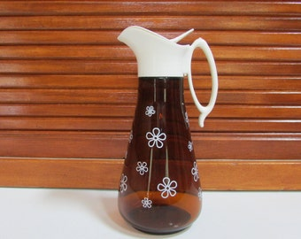 Brown Glass Syrup Pitcher with White Flowers