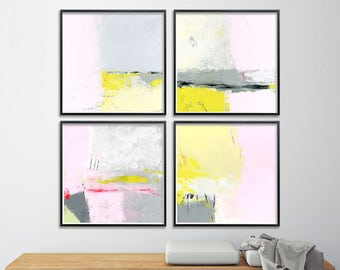 Set of Four Giclee Prints from Abstract Paintings. 8x8 Pink yellow. Contemporary art, geometric, nursery art
