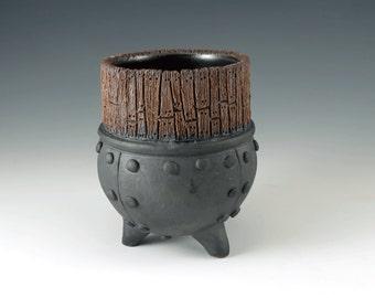 Ceramic Cup - Steampunk - Pottery Tea Bowl - Unique Handmade Mug - Industrial Metal - Art Pottery - Functional Ceramics - MS101