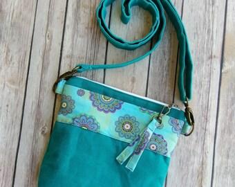 Waxed Canvas Crossbody Bag   Teal Canvas Bag   Teal Purple Handbag   Custom Crossbody   Made to Order   Pick your own design