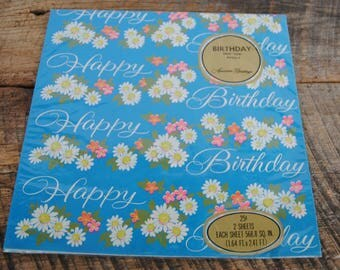 Vintage Happy Birthday Gift Wrapping Paper American Greetings Blue with Flowers