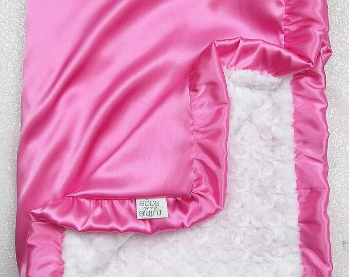 Minky Blanket, White blanket, baby girl, white and hot pink, rose minky, silky blanket, satin and minky, hot pink, Silk and Minky, Satin