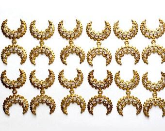 Vintage Brass Filigree, 12 Pieces, Crescent Style Filigree, Drilled Center, Vintage Supplies,Vintage Brass,39x20mm,B'sue Boutiques,Item02275