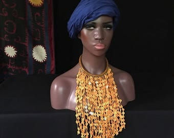 African Braided LEATHER Dangling Necklace FRINGE Mali Tribal Fusion Belly Dance Uber Kuchi®