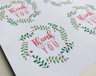 Printable Thank You Tag - Wreath - Pink and Green Baby Shower- 2 in or 2.25 in Circle - Label