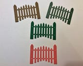 """Handmade, 4 Fences, Sizzix, Red Checks, Green, Brown, Blue Striped, 3 1/8"""" x 2 1/4"""", Farm Card, Cards, Scrapbooking"""