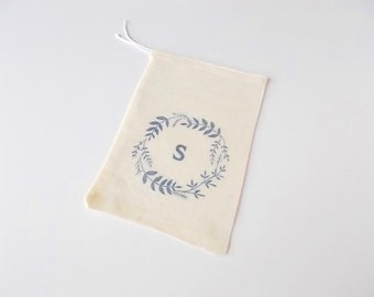 "Monogram Favor Bags, Baby Shower, Personalized Party Favors, 4""x6"" Cotton Muslin Pouches, Wedding Guest Favor"