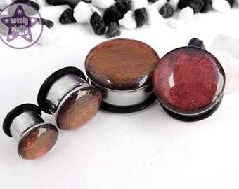 "Carbon Fibre Plug / Gauge Red Gold Chameleon Colour Shifting Glossy Top 2g, 0g, 00g, 7/16"" / 6mm, 8mm, 10mm, 11mm"