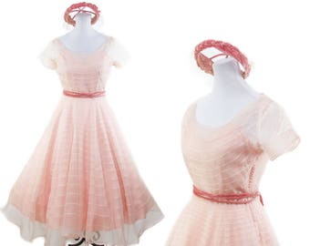 1950s Dress // Pink Sheer Organdy Embroidered Stripe Full Skirt Party Dress with Hat