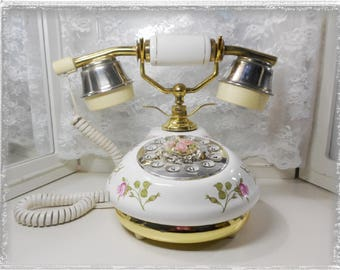 Vintage French Empress Style Push Button Land Line Telephone