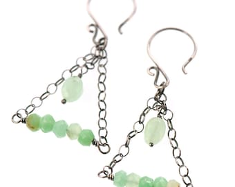 Mint Green Dangle Earrings | Chrysoprase Gemstone | Oxidized Sterling Silver Chandelier Earrings