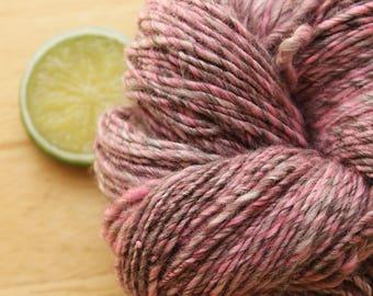 Electric Strawberry - Handspun Wool Yarn Pink Bamboo Sport Weight Skein