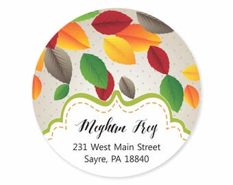 Fall Leaves Polka Dot Personalized Address Labels Stickers / Happy Fall / Autumn