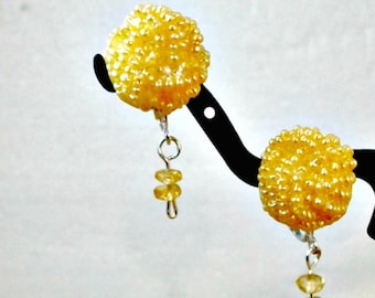 Handmade earrings clip on beaded bead with crystal dangle yellow by Pat2