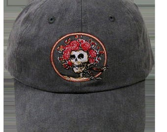 Skull and Roses Embroidered Baseball Cap- Charcoal