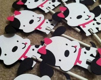 Dalmatian Cupcake Toppers, Puppy Cupcake Toppers, Puppy Birthday, Dalmatian Birthday, Puppy Cupcake, Dalmatian Party, CUSTOM ORDER