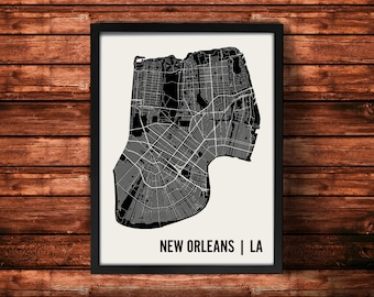 New Orleans Map Art Print | New Orleans Print | New Orleans Art Print | New Orleans Poster | New Orleans Gift | Wall Art