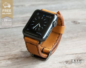 Apple Watch Leather Bands Watch Band Watchbands in Honey Series 1 and 2 42mm 38mm [Handmade] [Custom Colors] [FREE SHIPPING]
