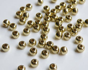 20 Solid Brass round spacer beads 4.5mm 2587MB