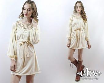 Cream Crochet Dress Hippie Dress Hippy Dress Hippie Wedding Dress Hippy Wedding Dress Boho Wedding Dress 1970s Dress 70s Dress S M L