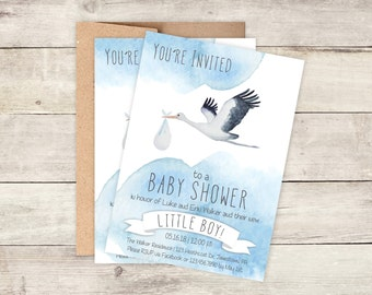 Baby Shower Invitations - Stork Baby Shower Invitations - Printed Invitation Cards - Personalized Watercolor Baby Shower Invitations