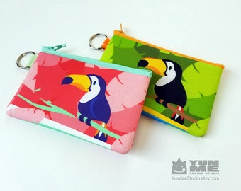 Toucan Zipper Bag Pouch Wallet Key Chain Coin Purse Pick One (Made to Order)