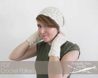 Crochet Pattern: Sufficient Grace Beret and Mitts- Toddler, Child, Adult Size lace spring hat fingerless gloves easter art deco