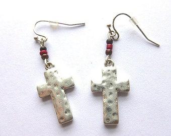 SILVERTONE Cross EARRINGS, Beaded Dangling Silvertone Vintage Cross Earrings, Dangling NOS Cross Earrings, Silvertone Pierced Cross Earrings
