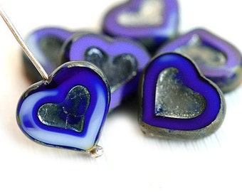 Dark Blue Heart beads, Picasso czech glass beads, French blue mixed color, table cut, glass heart - 14mm - 6Pc - 0037