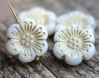 4pc White and Golden Anemone Flower beads, Gold Inlays, Czech glass Round daisy beads, 5 petal - 18mm - 2102